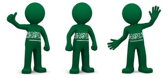 3d character textured with flag of Saudi Arabia Royalty Free Stock Images