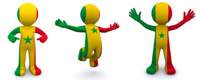 3d character textured with flag of Senegal Royalty Free Stock Images