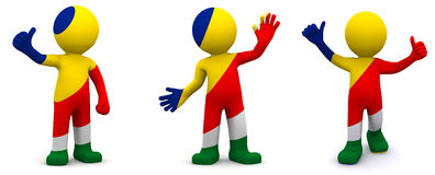 3d character textured with flag of Seychelles Royalty Free Stock Image