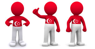 3d character textured with flag of Singapore. Isolated on white background Royalty Free Stock Images
