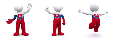 3d character textured with flag of Slovakia Royalty Free Stock Image