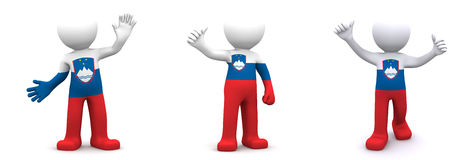 3d character textured with flag of Slovenia Stock Photo
