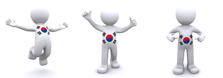 3d character textured with  flag of South Korea Stock Photo