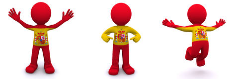 3d character textured with flag of Spain Stock Photo