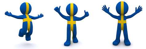 3d character textured with flag of Sweden Stock Photography