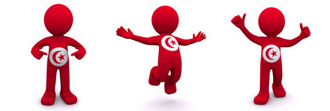 3d character textured with  flag of Tunis Stock Photos