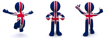 3d character textured with  flag of UK Royalty Free Stock Photos
