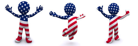 3d character textured with flag of USA Stock Image