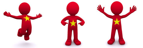 3d character textured with flag of Vietnam Stock Photography