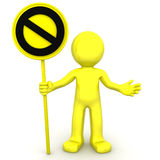 3d character with yellow STOP sign. On white background Stock Image