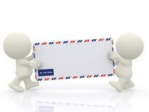 3D characters carrying an envelope Stock Photo