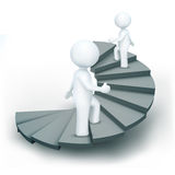 3d characters climbing steps of success Royalty Free Stock Photo