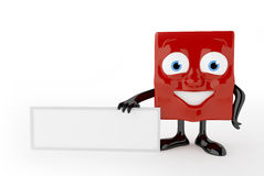 3d characters with empty board. Red cute character with empty white board Royalty Free Stock Images