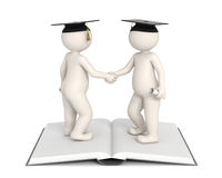3d characters - Graduation - Gratulation. 3d people shaking hands and congratulate for each others graduation Stock Photography