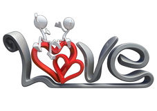 3d characters hugging love word Стоковая Фотография