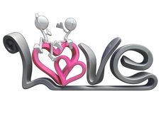 3D characters hugging on the word love. Stock Photo