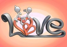 3D characters hugging on the word love. Royalty Free Stock Photography