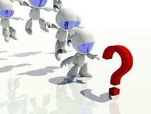 3d characters looking at a question mark Stock Photography