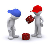 3d characters playing dice Royalty Free Stock Photo