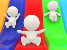 3D characters on slide Royalty Free Stock Image