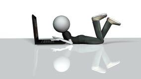 3d charakteru faceta istoty ludzkiej laptop royalty ilustracja