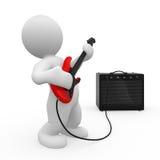 3d charakteru gitary bawić się Zdjęcie Stock
