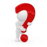 3d charakteru obejmowania pytania znak Zdjęcia Stock