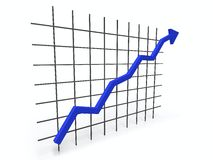3D chart. 3D ascending chart over white background Royalty Free Stock Images