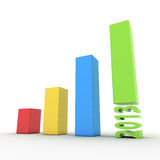 3d chart 2013. 3d chart showing growth and success Royalty Free Stock Photo