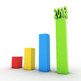 3d chart 2013. 3d chart showing growth and success vector illustration