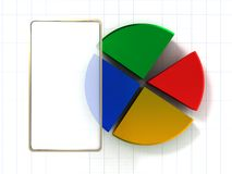 3d charts. 3d render of charts with space for text in frame Stock Photos