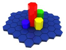 3d charts. Abstract 3d illustration of six-gon bars, charts Royalty Free Stock Photo