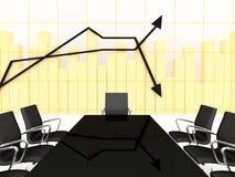 3d charts finansiell lokal för konferensen Arkivfoto