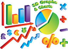 3D Charts and Graphs. With math and curency symbols Royalty Free Stock Photography