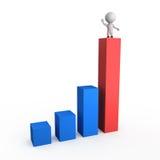 3d charts tillväxtillustrationen Stock Illustrationer