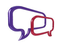 3D chat bubbles. High resolution illustration of a pair of glossy chat balloons Stock Images