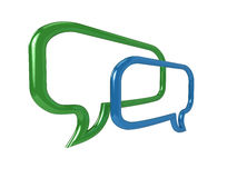 3D chat bubbles. High resolution illustration of a pair of glossy chat balloons Stock Photo