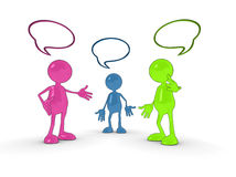3d chat characters. Shiny 3d cartoon chat characters with speech bubbles Stock Photography