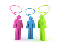 3d chat illustration. Illustration of 3 coloured (colored) characters with 3d speech bubbles Royalty Free Stock Photography