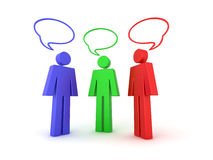 3d chat illustration. Illustration of 3 coloured (colored) characters with 3d speech bubbles Stock Photography