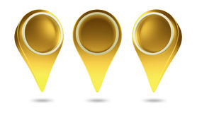 3D check in icon web. Gold color ,design element Royalty Free Stock Photo