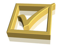 3D Check Mark Symbol. Gold 3D check mark symbol Royalty Free Stock Image