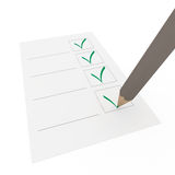 3d check pencil green. 3d pencil pen check box green paper business Royalty Free Stock Photo