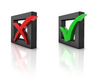3D checkboxes. Checkboxes with Green and red  Check marks. 3D generated image Royalty Free Stock Image
