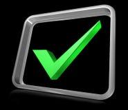 3d checker mark. 3d check mark web icon on black background Stock Photo
