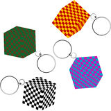 3D checkered cubes with keychains.  Royalty Free Stock Images