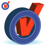3D Checkmark. 3D Red Checkmark in Blue Circle stock illustration