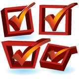3D Checkmark - Red Stock Image