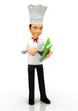 3D Chef looking for a recipe Royalty Free Stock Photo