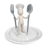3d Chef - Restaurant symbol with saucer Royalty Free Stock Photos